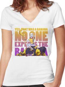 No one expects the banana - Soraka/Warwick Women's Fitted V-Neck T-Shirt