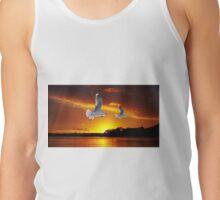 Golden seagull Ocean Sunrise Original exclusive photo art. Tank Top
