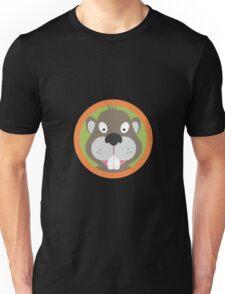 Cute Beaver head with orange circle Unisex T-Shirt
