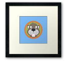 Cute Beaver head with orange circle Framed Print