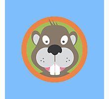 Cute Beaver head with orange circle Photographic Print