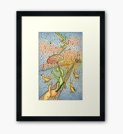 Ducks with a Handface Person in Music Rain & Symbols Framed Print