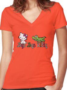 Bye Bye Kitty Women's Fitted V-Neck T-Shirt