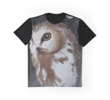 Snow Owl and Moon Graphic T-Shirt