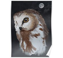 Snow Owl and Moon Poster