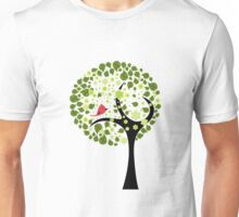Abstract Tree and Bird Unisex T-Shirt