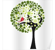 Abstract Tree and Bird Poster