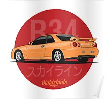 Nissan Skyline (R34) (orange) Poster