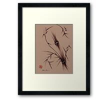 """As One""  Original brush pen sumi-e bamboo drawing/painting Framed Print"