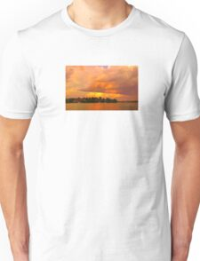 Striking Orange Sunrise Over Water. Original exclusive photo art. Unisex T-Shirt