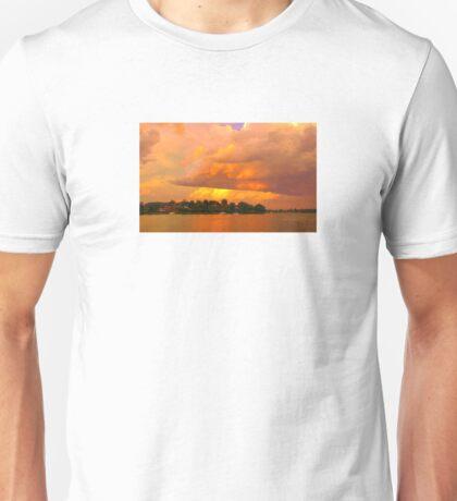 Striking Orange Sunrise Over Water. Original exclusive photo art. Unisex T-Shirt