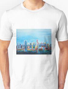 Neon Shimmering Skyline Miami, Florida Unisex T-Shirt