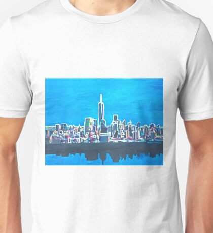 Neon Skyline of New York City Manhattan with One World Trade Center Unisex T-Shirt
