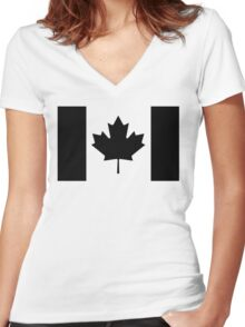 Canadian Flag Black And White Women's Fitted V-Neck T-Shirt