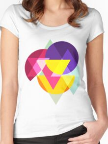 Abstract Colorful Geometric Art Women's Fitted Scoop T-Shirt