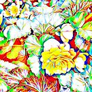 Yellow Begonias with Leaves by Dana Roper