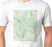 Poznan Map Blue Vintage Unisex T-Shirt