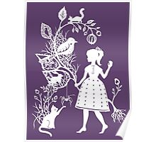 Young Girl With Branch & Animals Poster
