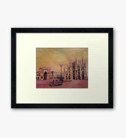 Milan Cathedral with Oldtimer Convertible Alfa Romeo Framed Print