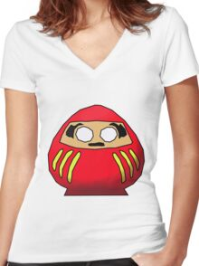 Daruma-san Women's Fitted V-Neck T-Shirt