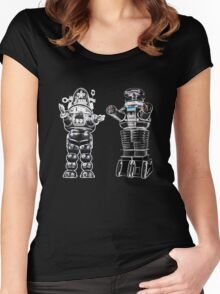 RETRO Robots Attack! Women's Fitted Scoop T-Shirt