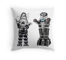 RETRO Robots Attack! Throw Pillow