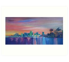 Miami Skyline Silhouette at Sunset, Florida, USA  Art Print