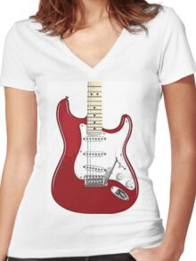 Fender Stratocaster RED Women's Fitted V-Neck T-Shirt