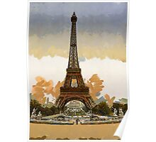 A digital painting of the Eiffel Tower, full-view, looking toward the Palais du Trocadéro, Paris, France Poster