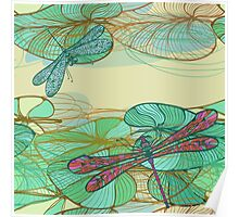 Dragonfly pattern Poster