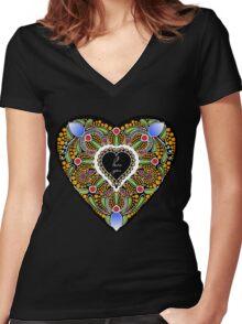 I love you (black heart) Women's Fitted V-Neck T-Shirt
