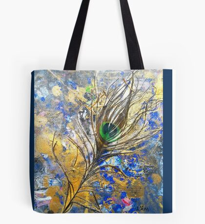 Dancing Peacock 'Rain Painting' Tote Bag