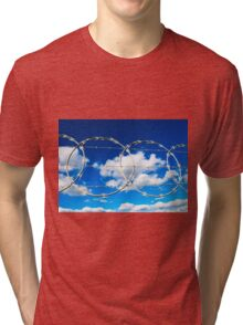 Clouds through Razor Wire Tri-blend T-Shirt