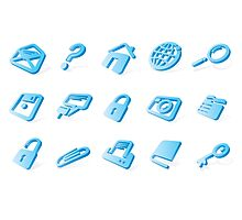 Blue website and internet icons Photographic Print