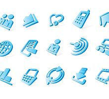 Blue website and internet icons by maystra