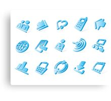 Blue website and internet icons Canvas Print