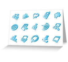 Blue website and internet icons Greeting Card