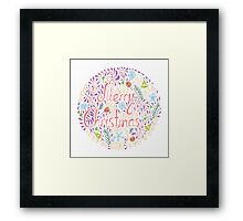 Merry Christmas text with holiday elements Framed Print