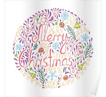 Merry Christmas text with holiday elements Poster