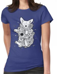 Floral Corgi Womens Fitted T-Shirt