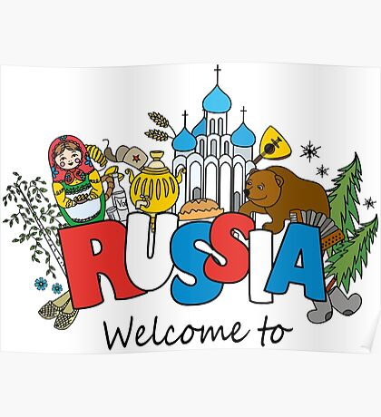Welcome to Russia. Russian symbols Poster