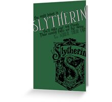 Slytherin Harry Potter House Poster Greeting Card