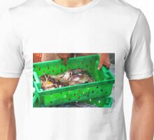Crabs in the green plastic box on the fish market Unisex T-Shirt