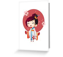 Japanese Cute Geisha Greeting Card