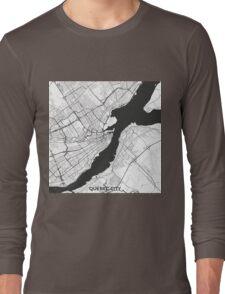 Quebec City Map Gray Long Sleeve T-Shirt