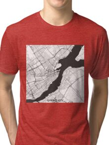 Quebec City Map Gray Tri-blend T-Shirt