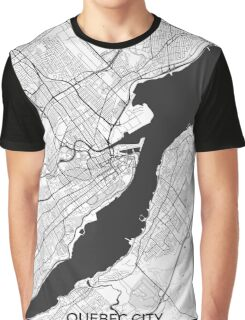 Quebec City Map Gray Graphic T-Shirt