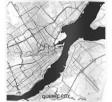 Quebec City Map Gray Poster
