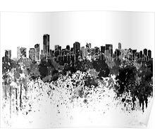 Miami skyline in black watercolor Poster