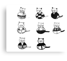 8 different cats in black and white Canvas Print